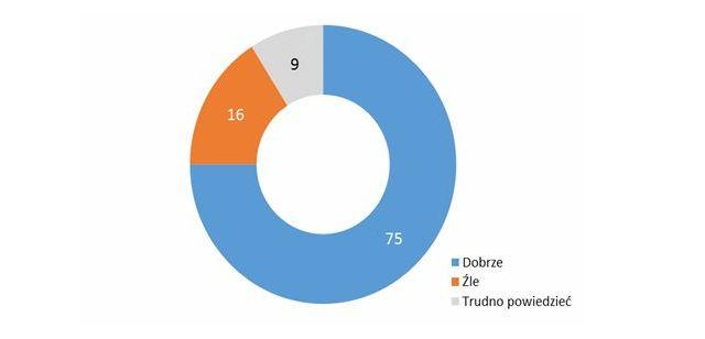 Wykres kołowy. Odpowiedzi badanych: dobrze - 75%, źle - 16%, trudno powiedzieć - 9%