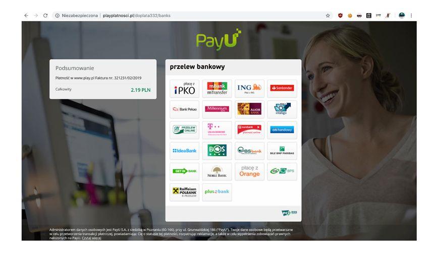 Fałszywa strona internetowa PayU oferująca szybkie przelewy