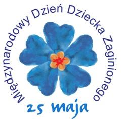 Niezapominajka i napis: 25 maja Międzynarodowy Dzień Dziecka Zaginionego