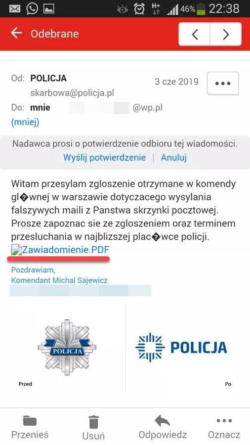 Przykładowa fałszywa wiadomość  przesłana przez oszustów podających się za policjantów