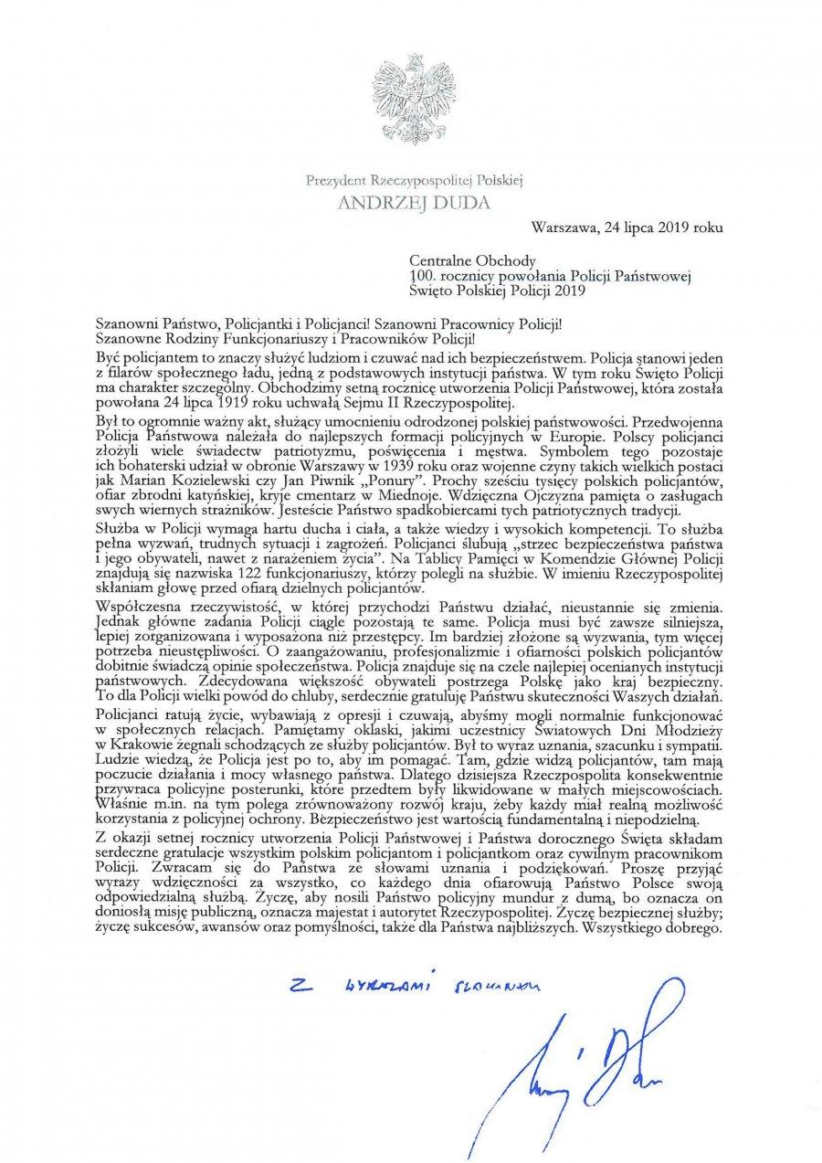 List prezydenta RP - treść poniżej