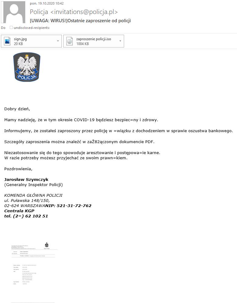 Przykład wiadomości phishingowej. Treść dostępna cyfrowo znajduje sie w pliku pod tekstem