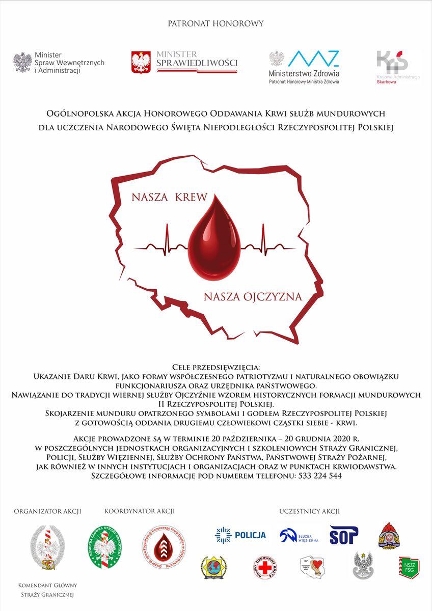 """Plakat promujący akcję """"Nasza krew - nasza Ojczyzna"""". Wersja dostępna cyfrowo pod komunikatem"""