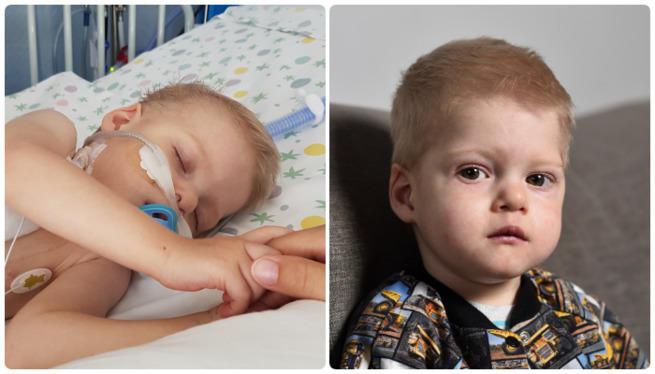 Aleksander Filipowski - dwa zdjęcia obok siebie. Na jednym chłopiec siedzi i pozuje do zdjęcia, a drugim leży w łóżeczku z aparaturą ułatwiająca mu oddychanie