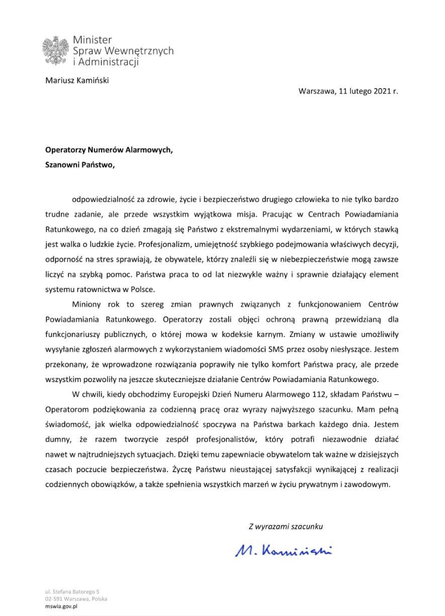 List ministra Mariusza Kamińskiego do Operatorów Numerów Alarmowych z okazji Europejskiego Dnia Numeru Alarmowego 112 - wersja cyfrowa dostepna pod zdjęciem