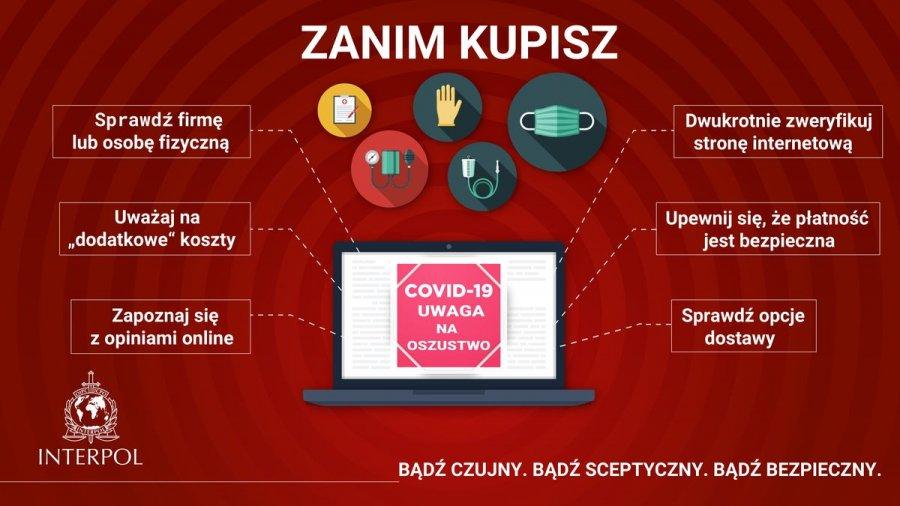 Infografika przedstawiającą zasady przedstawione w tekście, które wystarczy stosować przed zakupami w Internecie, aby uchronć się przed oszustwem.