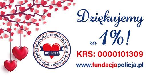 grafika z napisem Dziękujemy za 1%. KRS 0000101309 www.fundacjapolicja. Z lewej strony grafiki znajduję się gałąź z listkami w kształcie serc.pl