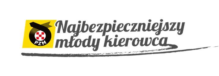Logo Polskiego Związku Motorowego i napis: Najbezpieczniejszy Młody Kierowca