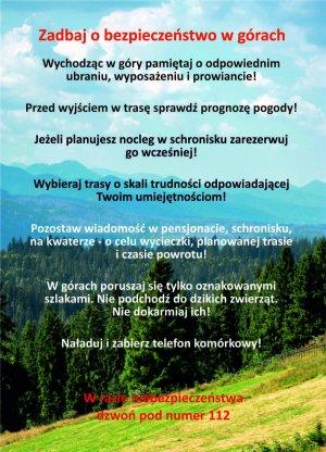 ulotka z poradami dot. bezpieczeństwa w górach