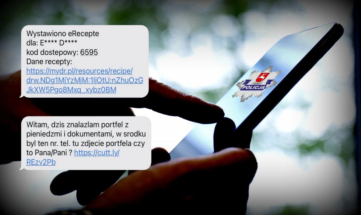 Fałszywe treści podane przez oszustów na tletelefonu komórkowego trzymanego w rękach.